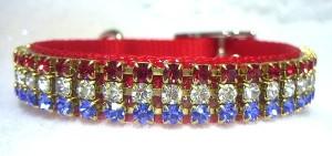 Patriotic Jeweled dog collar