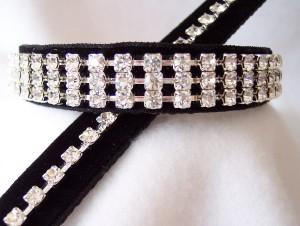 Black velvet & white diamond dog collar and leash set