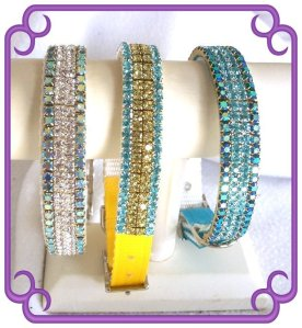 Blue and yellow jeweled dog collar