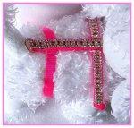 Pink rhinestone dog harness
