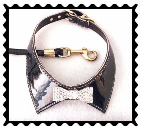 Black patent leather dog collar and rhinestone bow