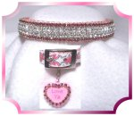 Hot Pink rhinestone dog collar with heart charm