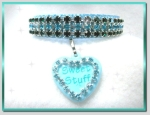 Aqua Blue sweet stuff rhinestone dog collar